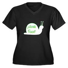 Slow Food Snail Women's Plus Size V-Neck Dark T-Sh