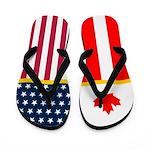 Canada Canadian American Flag Flip Flops