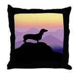 dachshund dog purple mt. Throw Pillow