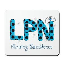 LPN blue black polka dots.PNG Mousepad