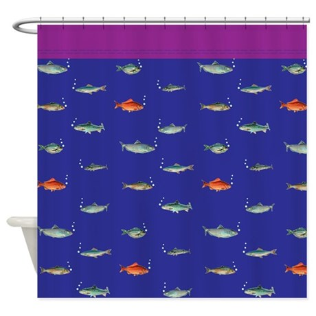 purple / navy blue deep sea shower curtain
