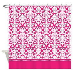 girly hot pink damask shower curtain