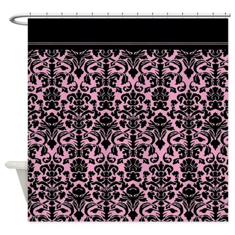 Pink And Black Gothic Damask Shower Curtain .