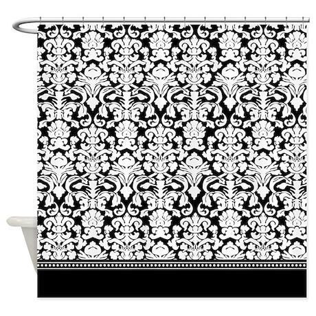 Black gifts gt black bathroom d 233 cor gt black damask shower curtain