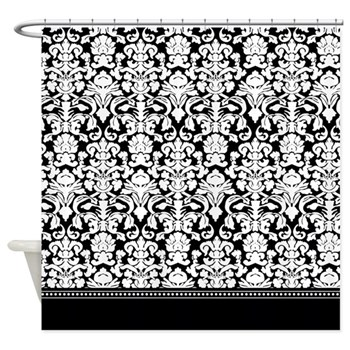 Black and White Intricate Luxurious Damask Shower Curtain