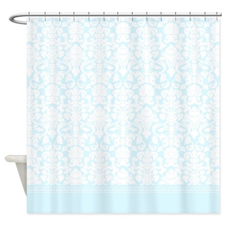 shabby chic light baby blue damask shower curtain