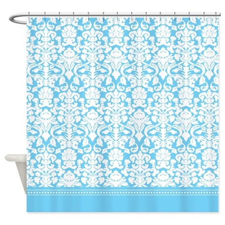 Sky blue french damask shower curtain