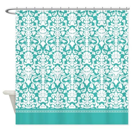 turquoise / teal/ aqua blue damask shower curtain
