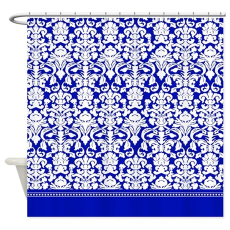 royal blue fancy damask shower curtain