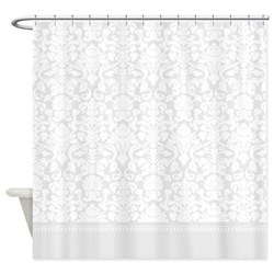 grey damask shower curtain
