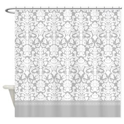 gray damask shower curtain