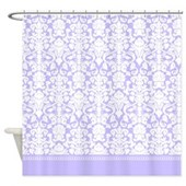 lilac damask shower curtain