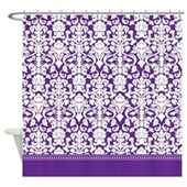 dark deep violet royal purple damask shower curtain