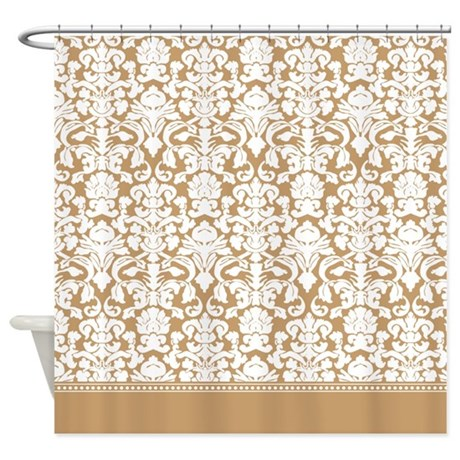 light brown / tan damask shower curtain