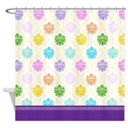 rainbow damask shower curtain