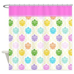 colorful multicolor damask shower curtain