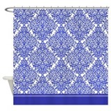 Dark blue damask shower curtain