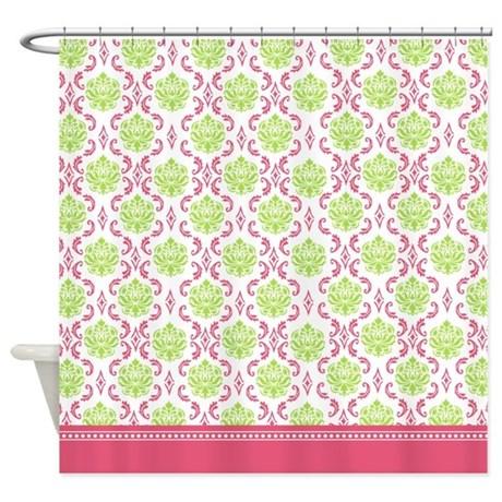 Hot Pink and lime Green damask shower curtain