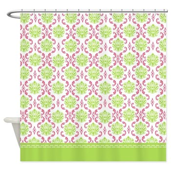 Lime green damask shower curtain with hot pink decorations