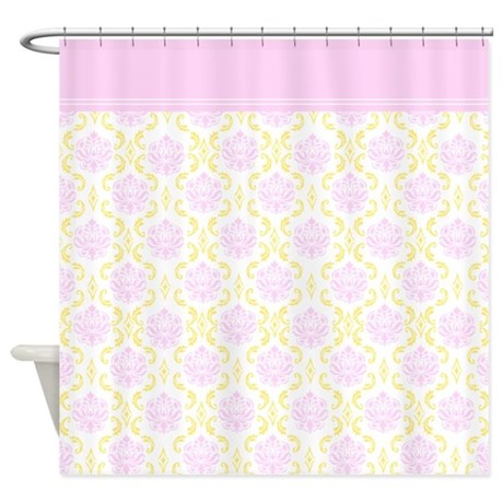 Shabby Chic Pink and Lemon Cream Yellow Damask Shower Curtain