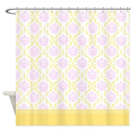 Retro Cream Yellow and Shabby chic Pink Damask Shower Curtain