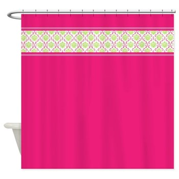 Bright and Bold hot pink shower curtain with damask trim