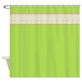Retro Bright green shower curtain with damask trim