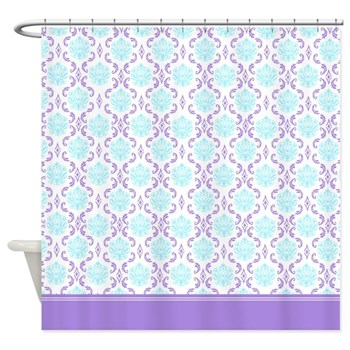 Blue and Purple damask shower curtain