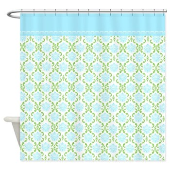 Blue and Green Damask Shower Curtain