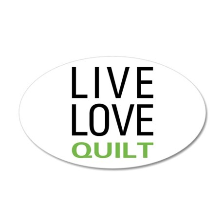 Live Love Quilt 20x12 Oval Wall Decal