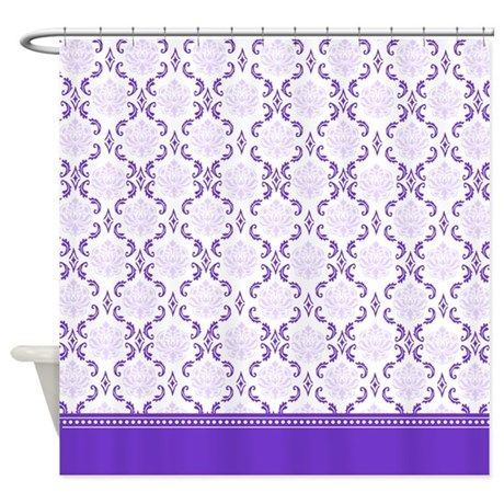 Violet and lilac two shades of purple damask shower curtain
