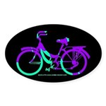 80s Style Bicycling Stivker Sticker (Oval)