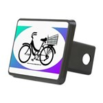 Bicycle Decal with basket Rectangular Hitch Cover