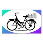 Bicycle Decal with basket Sticker (Rectangle)