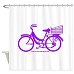 Purple Bike with Basket Shower Curtain