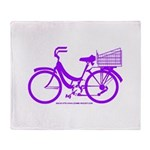 Purple Bike with Basket Throw Blanket