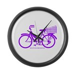 Purple Bike with Basket Large Wall Clock