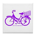 Purple Bike with Basket Tile Coaster