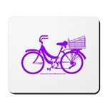 Purple Bike with Basket Mousepad
