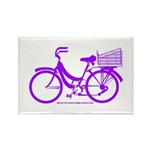 Purple Bike with Basket Rectangle Magnet