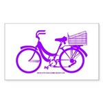 Purple Bike with Basket Sticker (Rectangle)