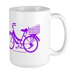 Purple Bike with Basket Large Mug