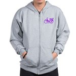 Purple Bike with Basket Zip Hoodie