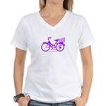 Purple Bike with Basket Women's V-Neck T-Shirt