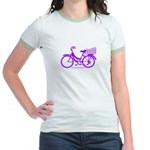 Purple Bike with Basket Jr. Ringer T-Shirt