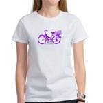 Purple Bike with Basket Women's T-Shirt