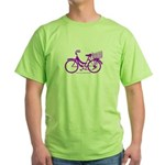 Purple Bike with Basket Green T-Shirt