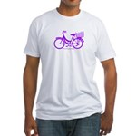 Purple Bike with Basket Fitted T-Shirt