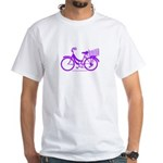 Purple Bike with Basket White T-Shirt