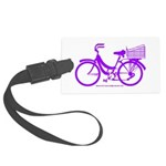 Purple Bike with Basket Large Luggage Tag